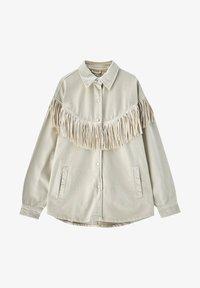PULL&BEAR - MIT FRANSEN - Denim jacket - mottled beige - 6