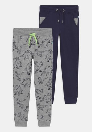 2 PACK - Tracksuit bottoms - dark blue/mottled grey