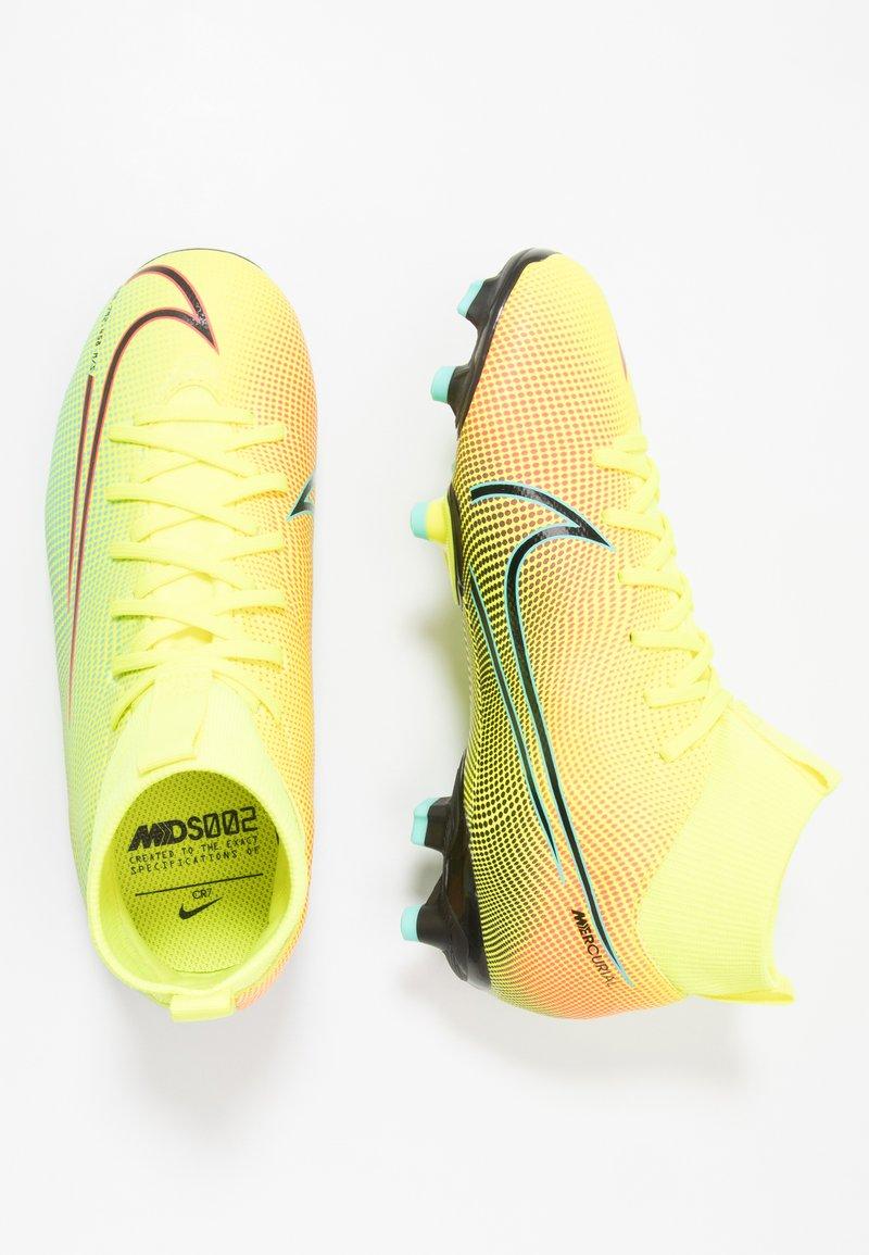 Nike Performance - MERCURIAL JR 7 ACADEMY MDS FGMG UNISEX - Moulded stud football boots - lemon/black/aurora green