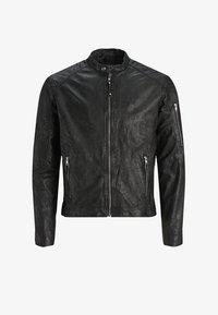 Jack & Jones - BIKER-STYLE - Leather jacket - black - 3