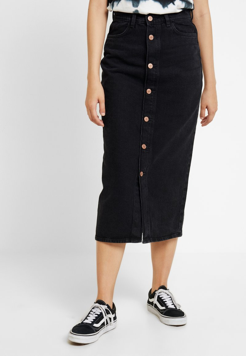 Monki - JESS SKIRT - Denim skirt - black