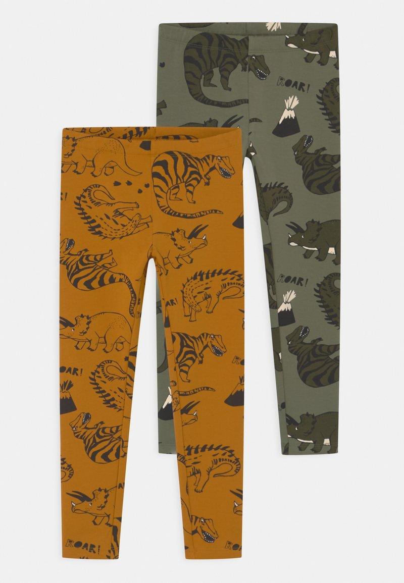 Lindex - MINI DINO 2 PACK - Leggings - Trousers - dark dusty yellow