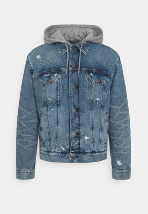 CLASSIC TRUCKER HOODED JACKET DESTROY - Veste en jean - blue
