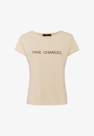 AUS BIO-BAUMWOLLE MIT WORDING - Print T-shirt - creme