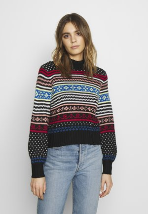 HYPER FAIR ISLE MOCK NECK - Jumper - black