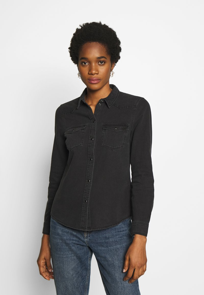 Vero Moda - VMMARIA SLIM  - Button-down blouse - black