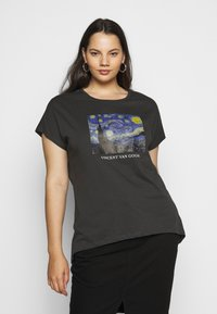 Even&Odd Curvy - T-shirts med print - black/blue/white - 0