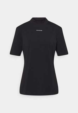 MICRO BRANDING STRETCH MOCK NECK - Print T-shirt - black