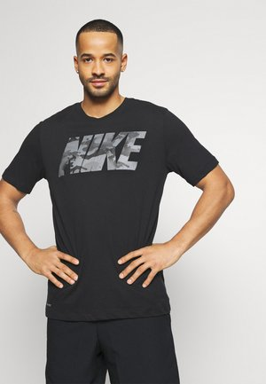 DRY TEE BLOCK - T-shirt med print - black/smoke grey