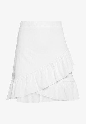 FRILL STRUCTURED SKIRT - Mini skirt - white
