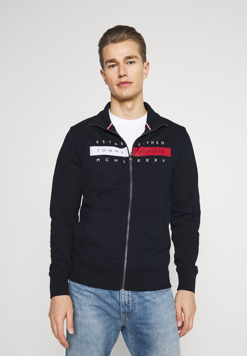 Tommy Hilfiger - GLOBAL ZIP THROUGH - Zip-up hoodie - desert sky