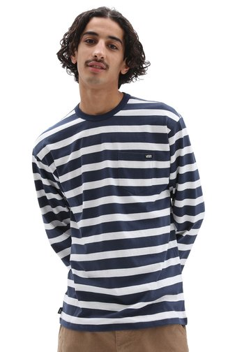 MN OFF THE WALL CLASSIC STRIPE POCKET LS - Long sleeved top - dress blues/white