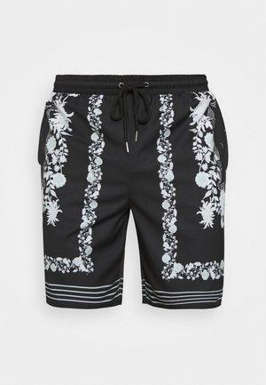 BORDER PRINT REVERE - Shorts - black