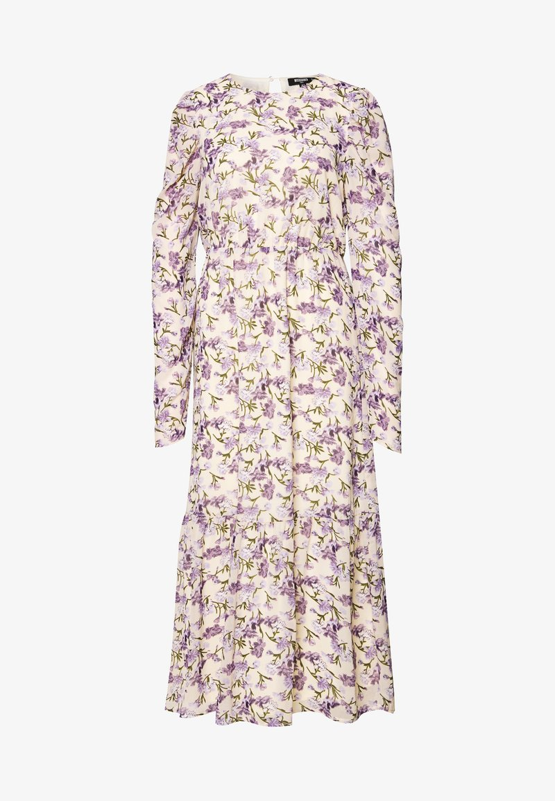 Missguided Tall - PUFF SLEEVE RUFFLE HEM MIDI SMOCK DRESS FLORAL - Day dress - cream