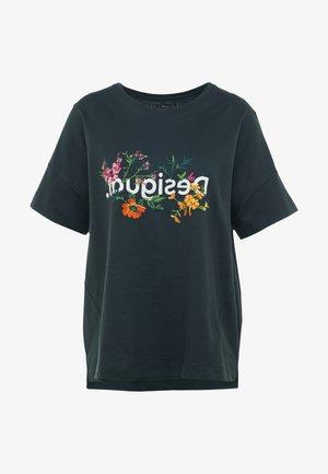 OVERSIZE FLOWERS - T-shirts med print - khaki