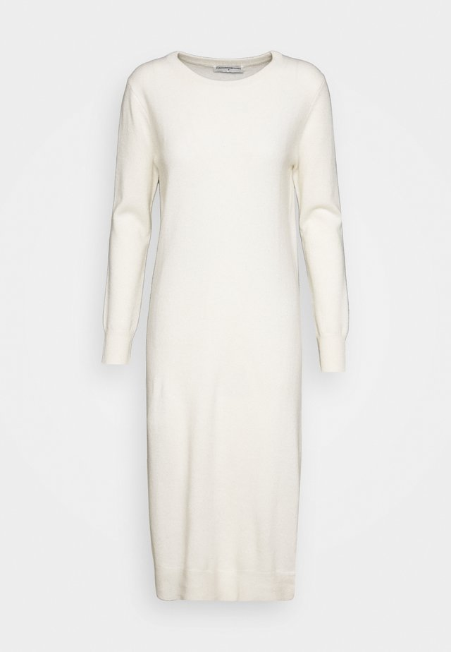 CREW NECK DRESS - Stickad klänning - ivory