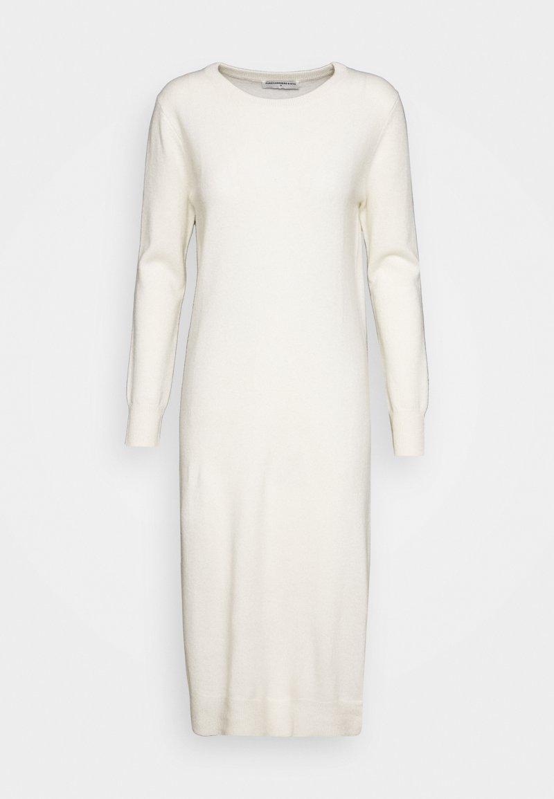pure cashmere - CREW NECK DRESS - Pletené šaty - ivory