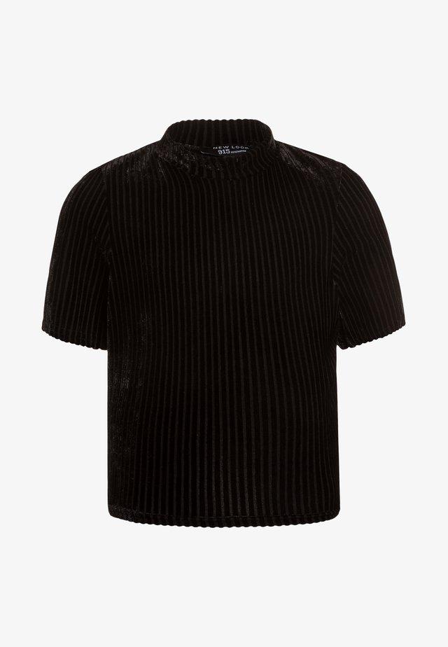 HIGH NECK TEE - Triko spotiskem - black