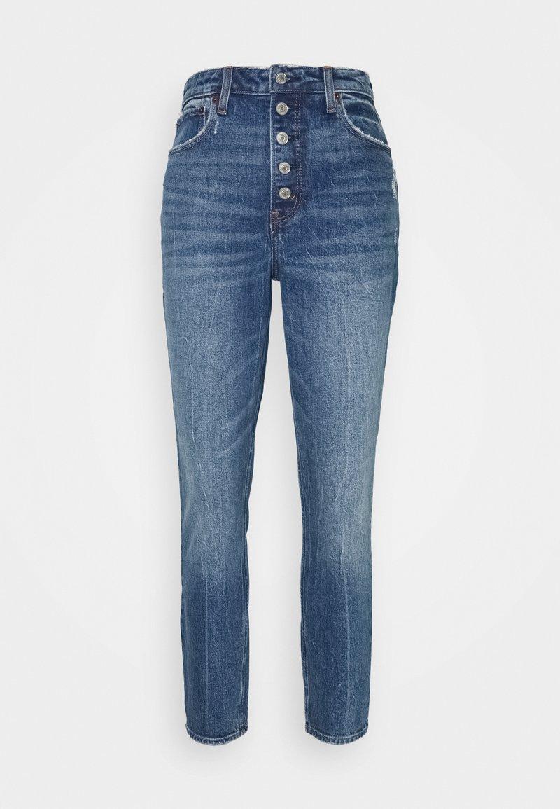 Abercrombie & Fitch - DEST SODA CURVY - Skinny džíny - dark-blue denim