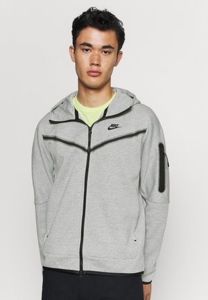 Zip-up hoodie - dk grey heather/black