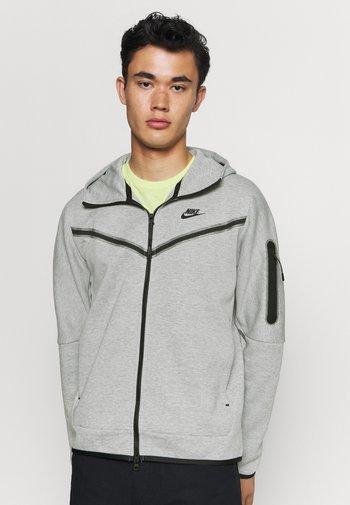 Mikina na zip - dk grey heather/black