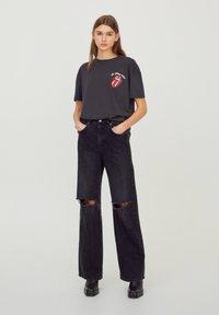 PULL&BEAR - Print T-shirt - mottled dark grey - 1