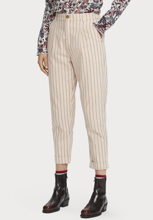 100% COTTON HIGH-RISE STRAIGHT LEG STRIPED PANTS - Trousers - combo a
