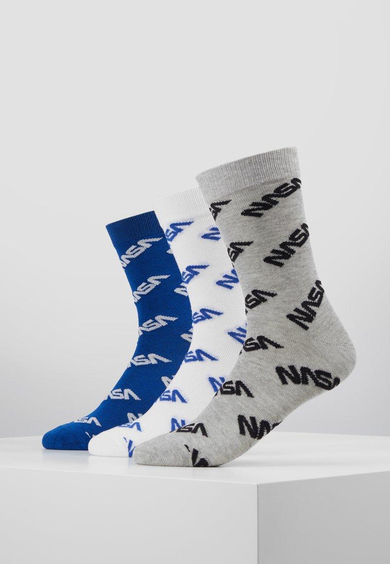 Mister Tee - NASA ALLOVER SOCKS 3 PACKS - Chaussettes - blue/grey/white
