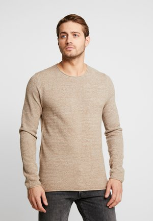 SLHROCKY CREW NECK - Jumper - sepia tint/light grey melange