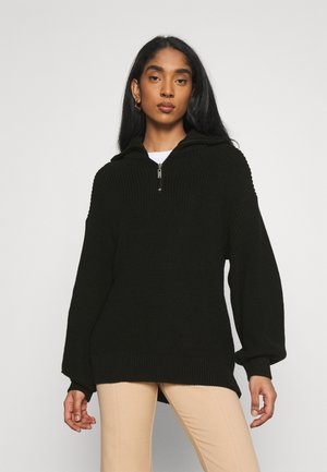 HALF ZIP UP - Strikkegenser - black