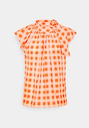 GINGHAM CHECK BOW DETAIL  - Printtipaita - orange zest/white sand