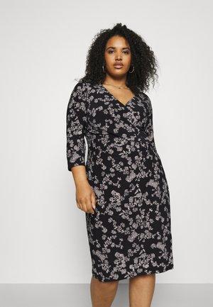 CLEORA LONG SLEEVE DAY DRESS - Vestito di maglina - black/colonial cream