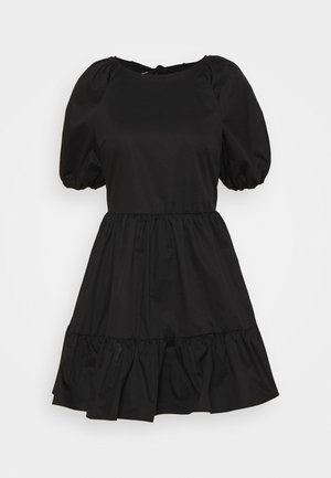 DOUBLE TIE BACK MINI DRESSES WITH PUFF - Day dress - black