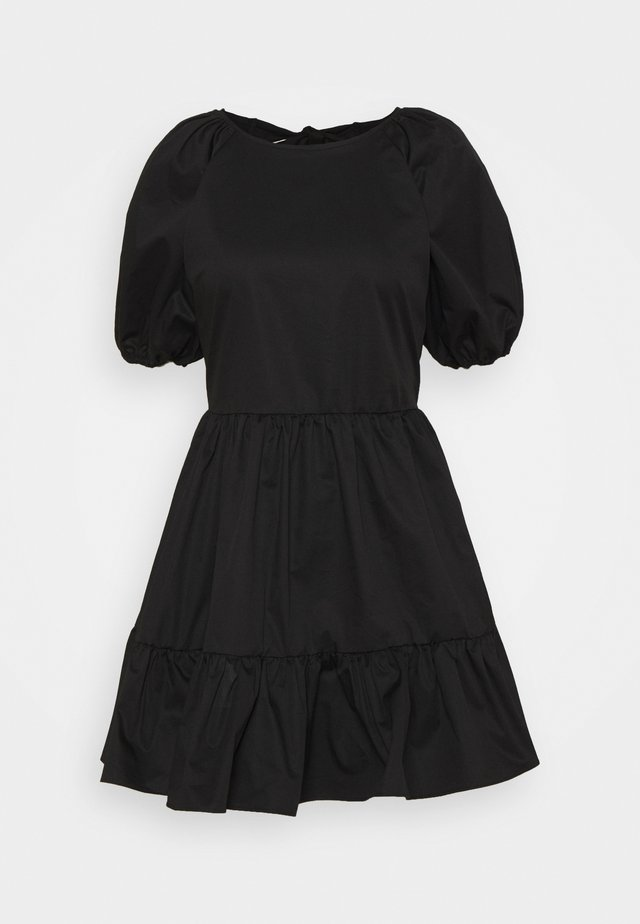 DOUBLE TIE BACK MINI DRESSES WITH PUFF - Robe d'été - black
