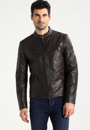 COBY - Leather jacket - dunkelbraun