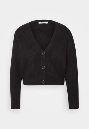 PLUNGE NECK CARDIGAN - Cardigan - black