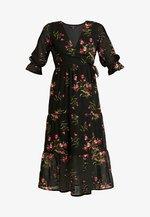 RUFFLE CUFF 3/4 LENGTH SLEEVE WRAP FRONT TIERED MIDAXI DRESS - Robe d'été - black/pink