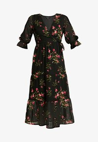 RUFFLE CUFF 3/4 LENGTH SLEEVE WRAP FRONT TIERED MIDAXI DRESS - Denní šaty - black/pink