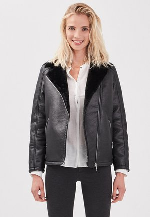 GERADER MIT FLIEGERKRAGEN - Leather jacket - noir