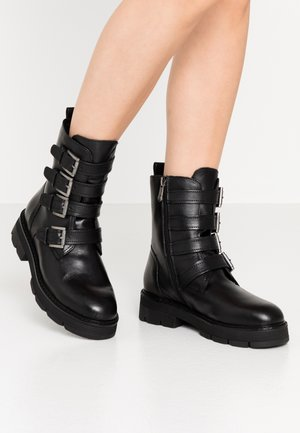 Cowboy/biker ankle boot - black antik