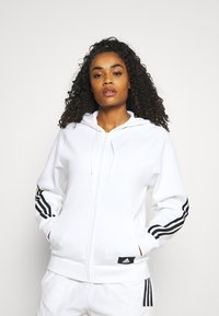 adidas Performance - FI 3-STRIPES FULL ZIP REG SPORTS FUTURE ICONS PRIMEGREEN TRACK TOP HOODIE - Zip-up sweatshirt - white - 0