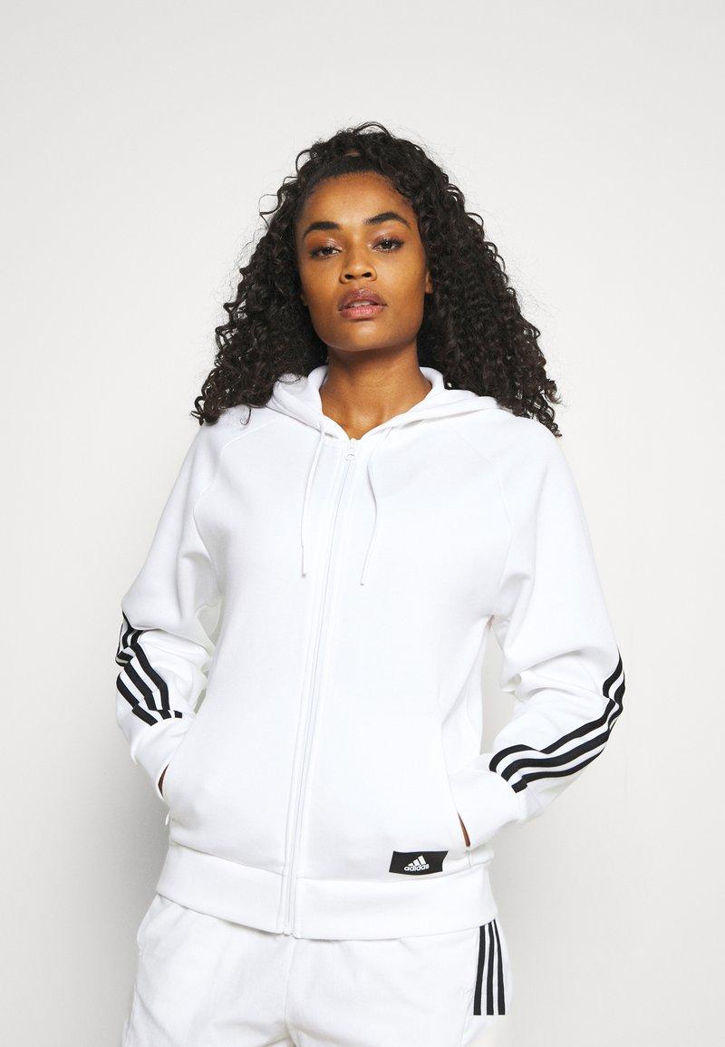 adidas Performance - FI 3-STRIPES FULL ZIP REG SPORTS FUTURE ICONS PRIMEGREEN TRACK TOP HOODIE - Zip-up sweatshirt - white