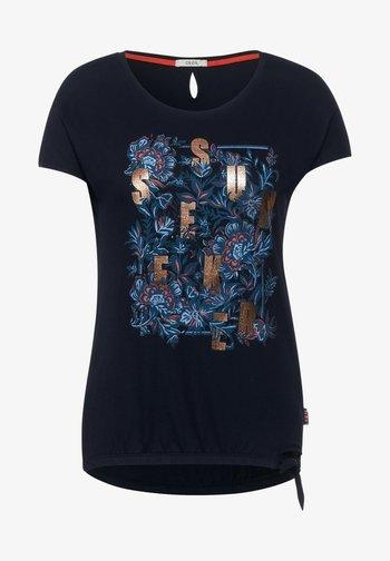 MIT SCHLEIFEN DETAIL - Print T-shirt - blau