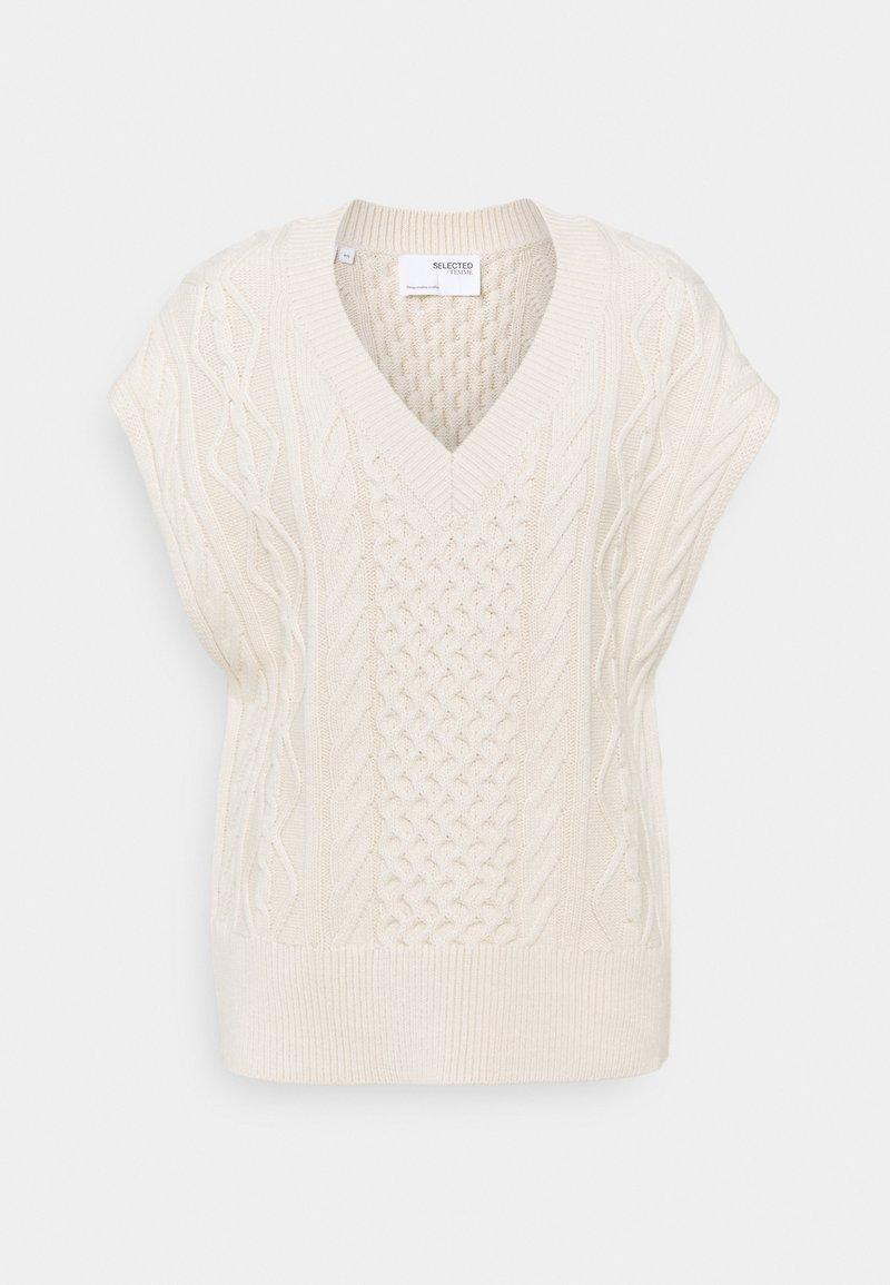 Selected Femme - SLFVICKA CABLE VEST - Print T-shirt - sandshell