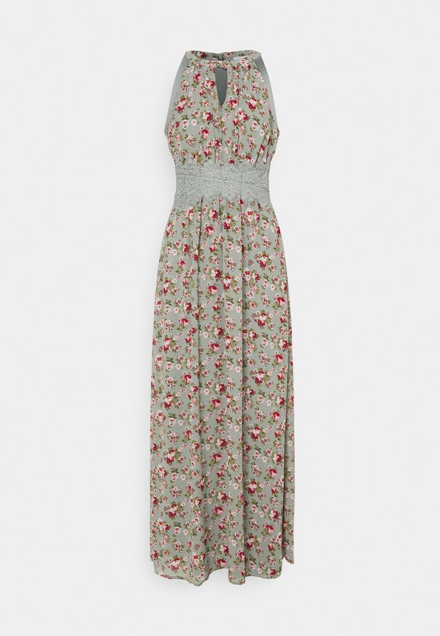 VIMILINA FLOWER DRESS - Maxi dress - green milieu/red/pink