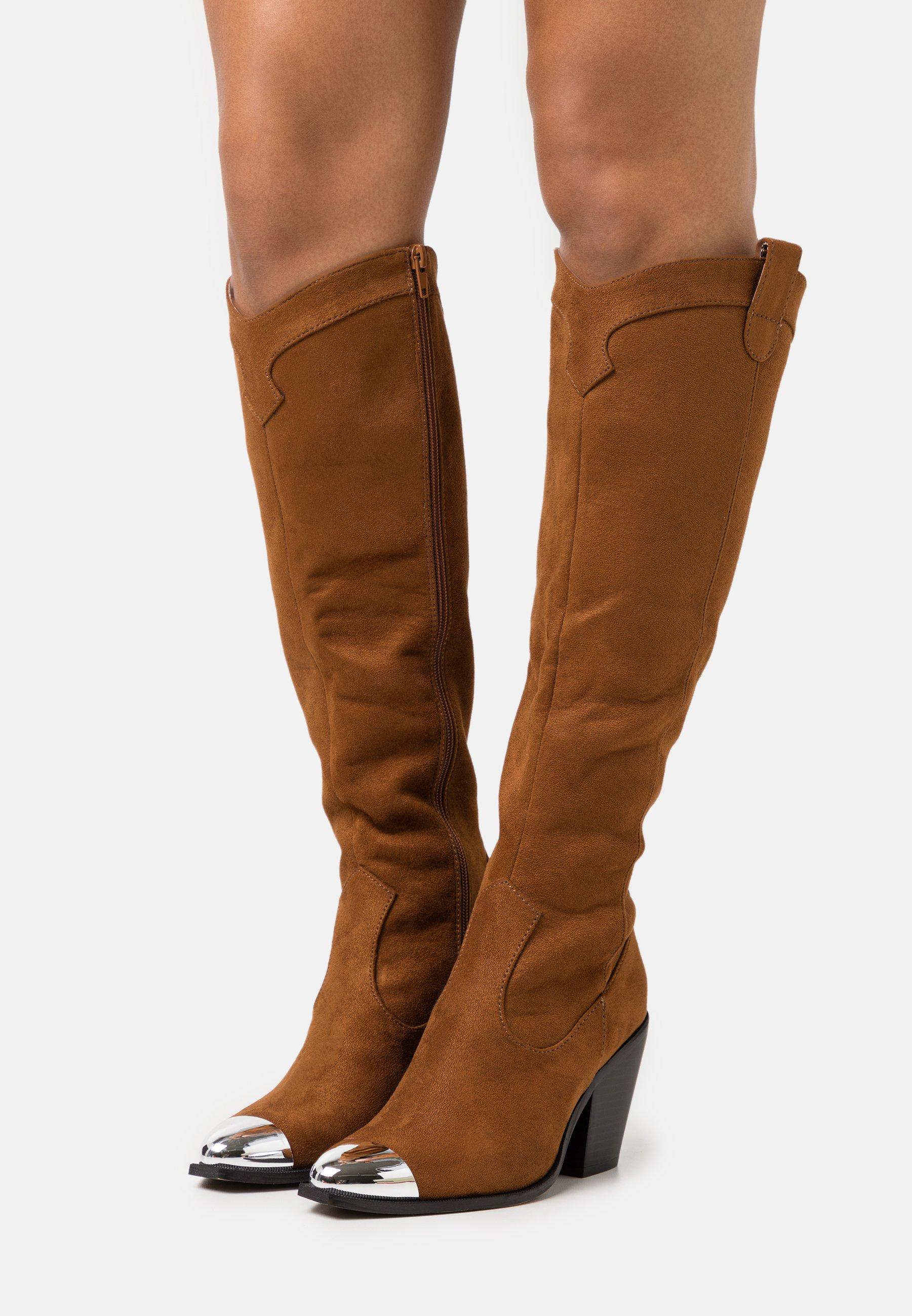 Women High heeled boots - dark brown