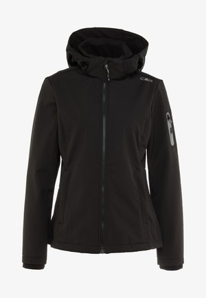 WOMAN JACKET ZIP HOOD - Softshellová bunda - nero