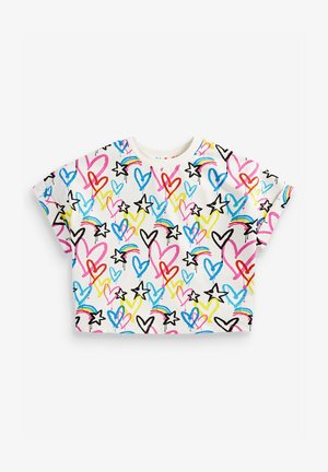 GRAFFITI HEART PRINT BOXY SHAPED - Print T-shirt - multi-coloured