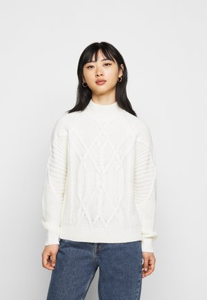 CABLE HIGH NECK JUMPER - Pullover - ivory