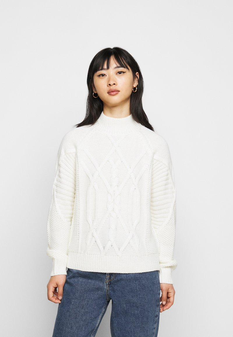 Dorothy Perkins Petite - CABLE HIGH NECK JUMPER - Jumper - ivory